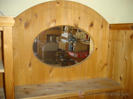 Antigüedades: mueble aparador de pino con espejo y estante - Foto 8 - 29857619