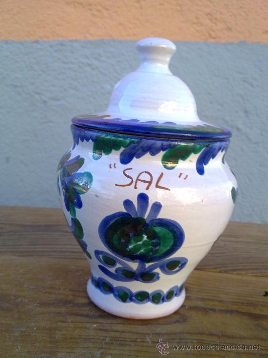 PRECIOSO SALERO EN CERAMICA FAJALAUZA. (Antigüedades - Porcelanas y Cerámicas - Fajalauza)