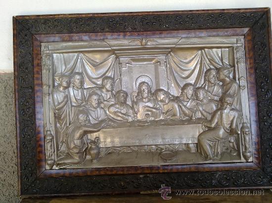 ANTIGUO CUADRO DE LA ULTIMA CENA DE JESUS EN RELIEVE. segunda mano