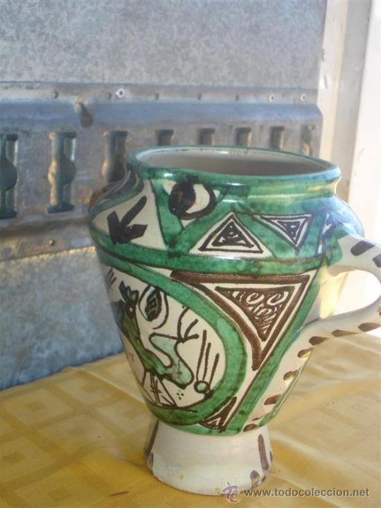 JARRON DE CERAMICA DECORACION CON 3 ASAS (Antigüedades - Hogar y Decoración - Jarrones Antiguos)