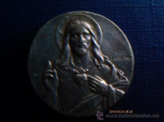 MEDALLA - PASADOR- DEL SAGRADO CRAZON DE JESUS ,PLATA (Antigüedades - Religiosas - Medallas Antiguas)