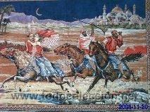 Antigüedades: Antiguo tapiz de mural motivos árabes de finales del siglo XIX - Foto 3 - 29961175