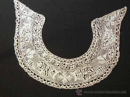 ANTIGUO CUELLO ENCAJE DE BOLILLO (Antigüedades - Moda - Encajes)
