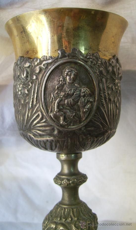 CÁLIZ. DE PLATA Y METAL. SIGLO XIX. (Antigüedades - Religiosas - Artículos Religiosos para Liturgias Antiguas)