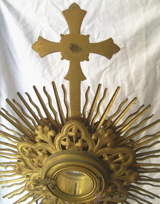 Antigüedades: Custodia / Sagrario/ Relicario, de bronce dorado. Siglo XIX. - Foto 7 - 30003510