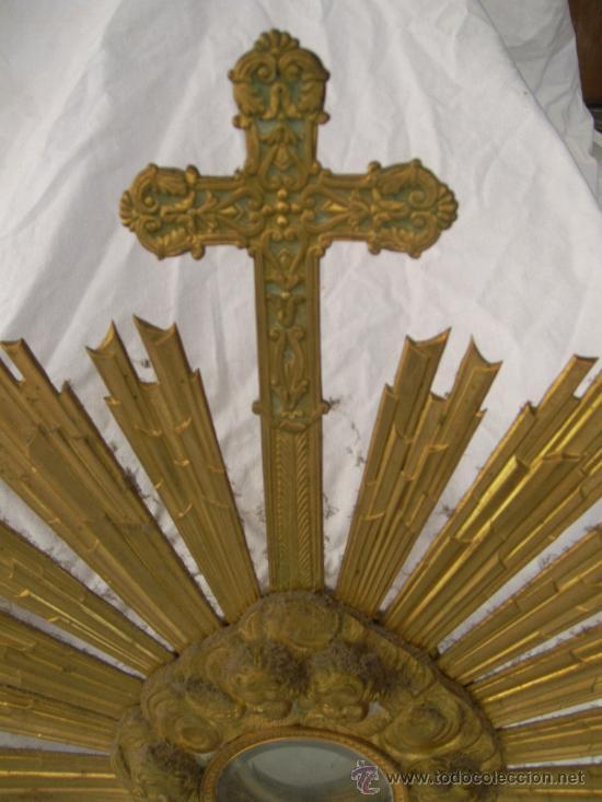 Antigüedades: Custodia / Sagrario/ Relicario, de bronce dorado. Siglo XIX. - Foto 3 - 30003602