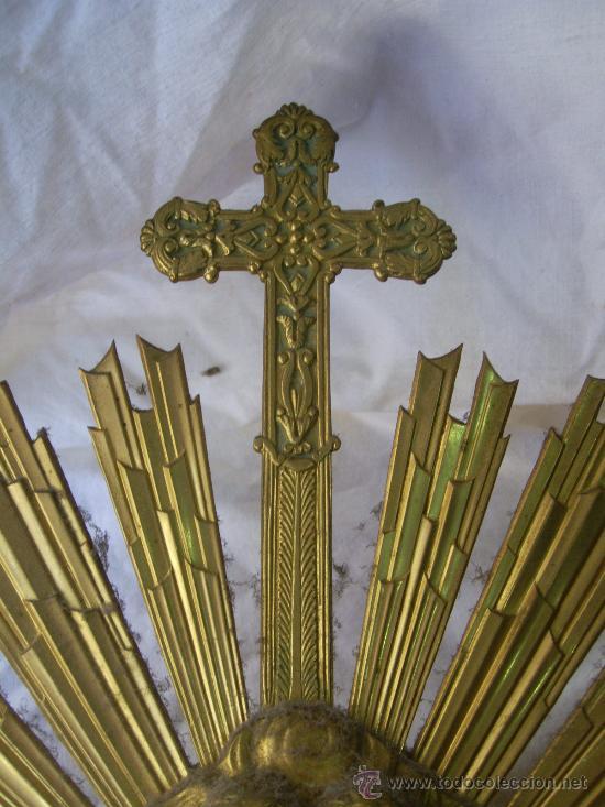 Antigüedades: Custodia / Sagrario/ Relicario, de bronce dorado. Siglo XIX. - Foto 15 - 30003602
