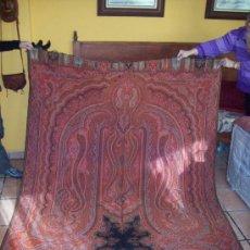 Antigüedades: MANTÓN O TAPIZ DE CACHEMIR EN LANA. Lote 23205425