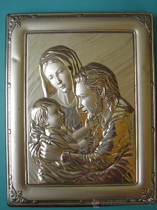 SAGRADA FAMILIA DE PLATA CONTRACTADA, REALIZADA EN RELIEVE Y ENMARCADA. DIM.- 14X18,250 CMS. (Antigüedades - Platería - Plata de Ley Antigua)