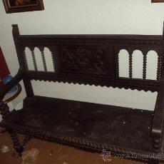 Antigüedades: BANCA EN MADERA DE NOGAL. Lote 30036754