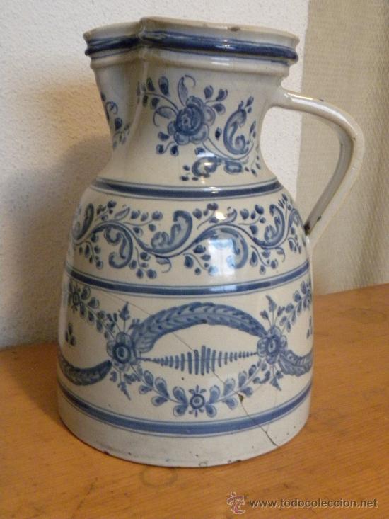 Antigüedades: Jarra vinatera ,cerámica Talavera Ruiz de Luna con escudo fabrica. - Foto 2 - 30062354