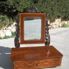 Antigüedades: ESPEJO TOCADOR DE CAOBA ANTIGUO - ESTILO ISABELINO. - BARCELONA. Lote 30072792