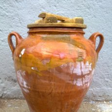 Antiguidades: ANTIGUA ORZA DE BARRO, VIDRIADA, UTILIZADAS PARA ECHAR ACEITUNAS. Lote 30075368