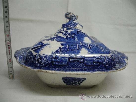 """PRECIOSA LEGUMBRERA """"CHINABLUE"""" / SIGLO XIX (Antigüedades - Porcelanas y Cerámicas - Inglesa, Bristol y Otros)"""