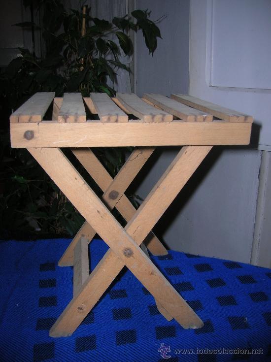 taburete plegable -de madera - - comprar sillas antiguas en