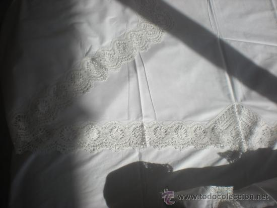 Antigüedades: Juego de cama GR HERMINIA semilino&encaje de bolillos Camariñas, REGALO tapete de 36e, 3mX2,5m. - Foto 8 - 29128069