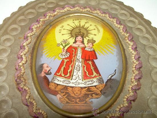 ANTIGUA Y MUY BONITA IMAGEN DE..... N.S. DE FONT ROMEU. (Antigüedades - Religiosas - Escapularios Antiguos)