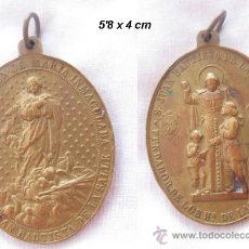 Antigüedades: GRAN MEDALLA ANTIGUA SAN JUAN BAUTISTA Y MARIA INMACULADA. Lote 30116383