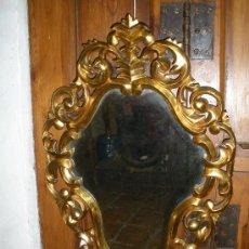 Antigüedades: ESPEJO CORNUCOPIA DE MADERA TALLADA Y DORADA. S.XIX. Lote 30147222