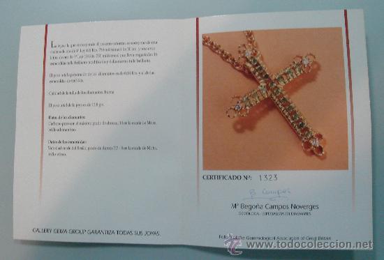 Antigüedades: CRUZ DE NOTRE DAME ORO 18 KTES. - 16 ESMERALDAS NATURALES Y 4 DIAMANTES NATURALES TALLA BRILLANTE - Foto 2 - 30168582