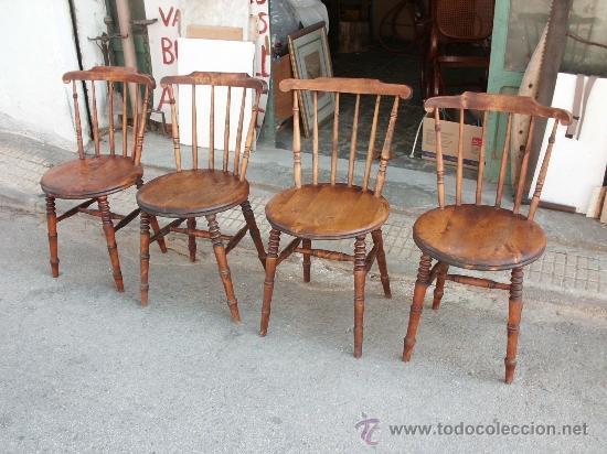 Cuatro antiguas y bonitas sillas rusticas ingl comprar for Sillas bonitas