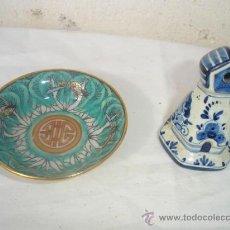 Antigüedades: PEQUEÑO PLATO ORIENTAL Y FIGURA DE CERAMICA. Lote 30216115