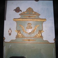 Antigüedades: AUTENTICA CAMA D´OLOT ,POLICROMADA CON ADORNOS DE ORO. Lote 30226581