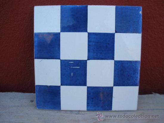 Precioso azulejo ajedrezado azul y blanco sell comprar azulejos antiguos en todocoleccion - Azulejos onda castellon ...