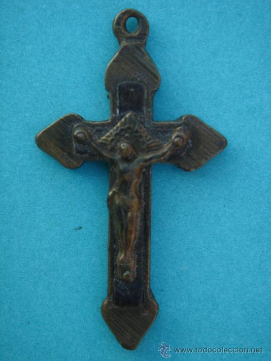 CRUCIFICADO ANTIGÜO -S. XVIII- EN BRONCE DE ÉPOCA. 4,1X2,3 CMS (Antigüedades - Religiosas - Crucifijos Antiguos)