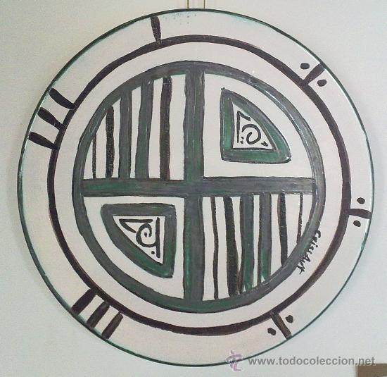 PLATO CERÁMICA VERDE COBRE VEGETAL Nº1 (REPRODUCCIÓN) (Antigüedades - Porcelanas y Cerámicas - Otras)