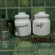 Antigüedades: JUEGO BOTE SUCRE Y CAFÉ EN CERÁMICA.. Lote 30309735
