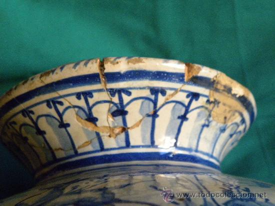 Antigüedades: Escupidera cerámca Triana ( Sevilla) con animales y arquitectura prnc. S. XX - Foto 6 - 30311624