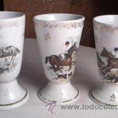 Antigüedades: ANTIGUA COLECCIÓN DE 4 COPAS DE PORCELANA CON MOTIVOS DE CAZADORES A CABALLO CON PERROS.. Lote 30320359