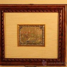 Antigüedades: CUADRO CON MINIATURA EN PLATA DE LEY ALEGORIA PRIMAVERA. Lote 30320851