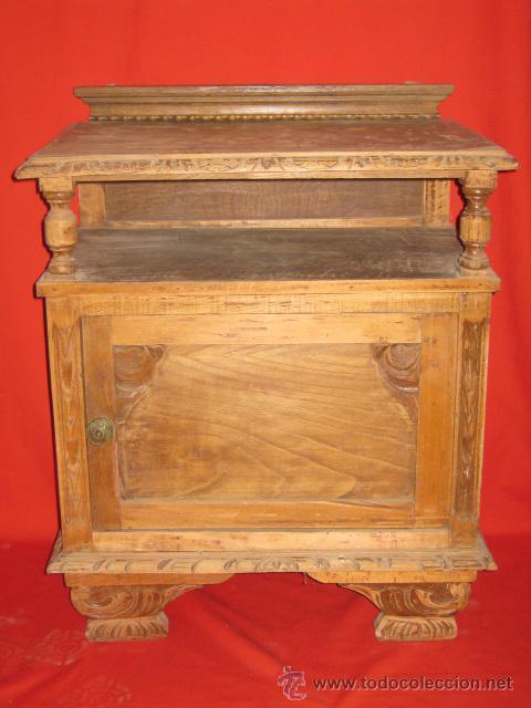 MESILLA DE NOCHE ESTILO RUSTICO, TERMINADA A LA CERA. (Antigüedades - Muebles Antiguos - Mesas Antiguas)