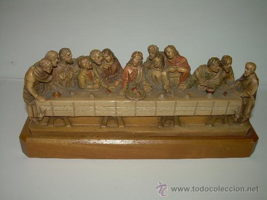 ANTIGUA Y BONITA SANTA CENA TALLADA EN MADERA. (Antigüedades - Religiosas - Varios)