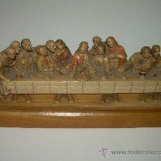 Antigüedades: ANTIGUA Y BONITA SANTA CENA TALLADA EN MADERA.. Lote 35383417