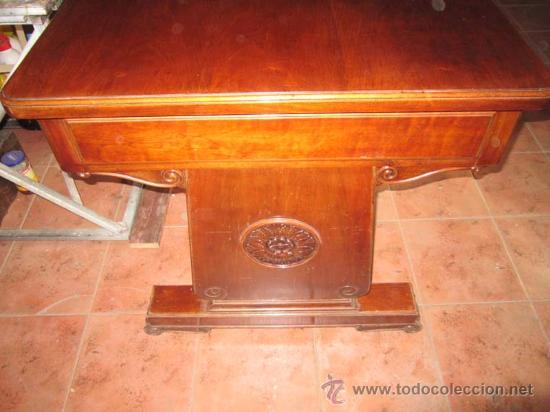 Antigüedades: Mesa de despacho en madera de caoba con precioso diseño de origen valenciano. - Foto 2 - 30340870