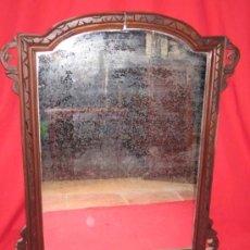 Antigüedades: ESPEJO RUSTICO EN MADERA CON BONITOS ADORNOS LATERALES.. Lote 30341158