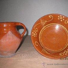 Antigüedades: PUCHERO Y CUENCO EN CERAMICA VIDRIADA - POPULAR -. Lote 30363308