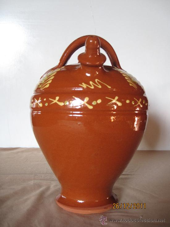 BOTIJO EN CERAMICA POPULAR VIDRIADA.- SALVATIERRA DE LOS BARROS ( BADAJOZ ) (Antigüedades - Porcelanas y Cerámicas - Otras)