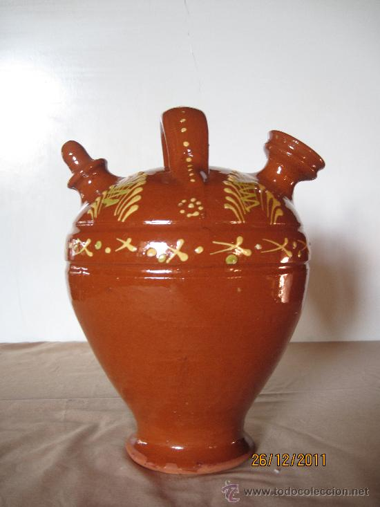 Antigüedades: BOTIJO EN CERAMICA POPULAR VIDRIADA.- Salvatierra de los Barros ( Badajoz ) - Foto 4 - 30364374