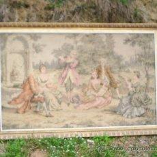 Antigüedades: TAPIZ ANTIGUO CON MARCO DE MADERA TALLADO - MIDE 155 CM DE LARGO X 100 CM DE ANCHO - . Lote 30388776
