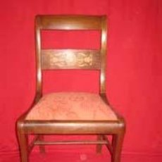 Antigüedades: MARAVILLOSO JUEGO DE SEIS SILLAS EN MADERA DE CAOBA CON MARQUETERÍA.. Lote 25988679