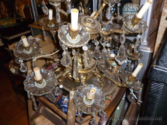 LÁMPARA DE BRONCE Y CRISTAL (Antigüedades - Iluminación - Candelabros Antiguos)