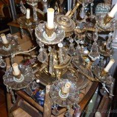 Antigüedades: LÁMPARA DE BRONCE Y CRISTAL. Lote 30393627