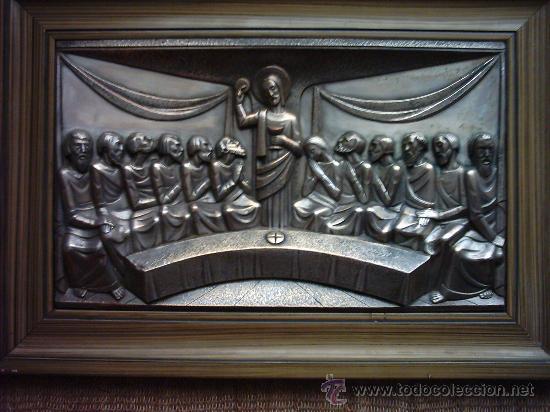 SANTA CENA EN METAL PLATEADO. INICIALES INCISAS: M.F. MARCA REGISTRADA. (Antigüedades - Religiosas - Varios)