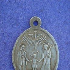 Antigüedades: MEDALLA RELIGIOSA ANTIGÜA DE BRONCE -CORAZONES DE JESÚS Y MARÍA-. DIM.- 2X2,9 CMS.. Lote 53361455
