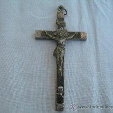 Antigüedades: CRUCIFIJO DE MADERA Y METAL Y CRISTO EN BRONCE, MIDE 12 X 6 CMS. Lote 30493957