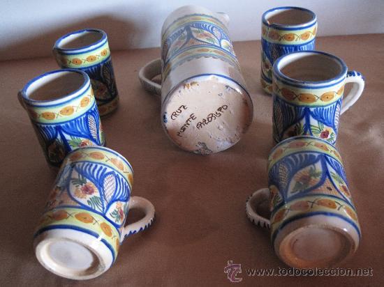 Antigüedades: JUEGO DE CERVEZA 7 PIEZAS, EN CERAMICA PINTADA Y VIDRIADA - EL PUENTE DEL ARZOBISPO. S/1970 - Foto 3 - 30514808
